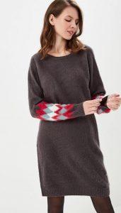 Платье-свитер-мини с узором